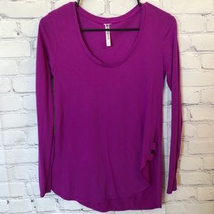 Fabletics purple long-sleeve workout top